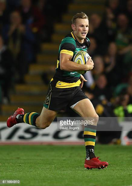 Rory Hutchinson of Northampton breaks with the ball for a try during the Aviva Premiership match between Northampton Saints and Exeter Chiefs at...