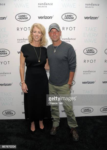 Rory Kennedy and Kenny Chesney attend 'Take Every Wave The Life Of Laird Hamilton' New York premiere at The Metrograph on October 4 2017 in New York...