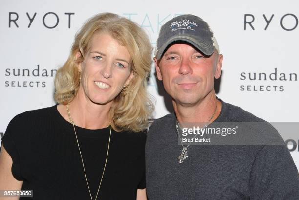 Rory Kennedy and Kenny Chesney attend the 'Take Every Wave The Life Of Laird Hamilton' New York Premiere at The Metrograph on October 4 2017 in New...