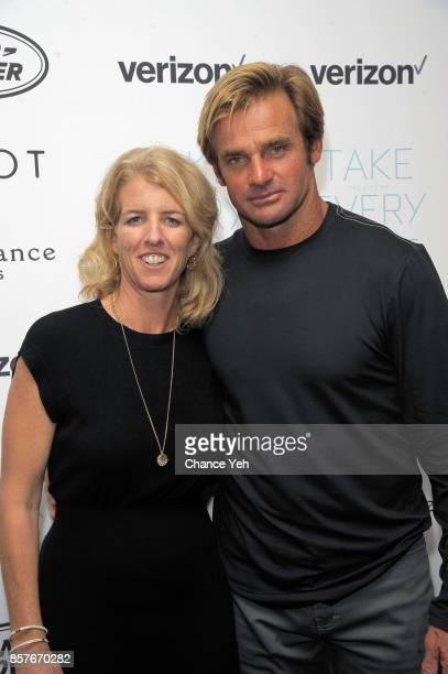 Rory Kennedy and Laird Hamilton attend 'Take Every Wave The Life Of Laird Hamilton' New York premiere at The Metrograph on October 4 2017 in New York...