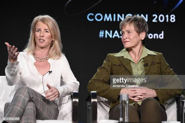 Rory Kennedy director/producer/narrator and Peggy Whitson Space Shuttle and ISS Astronaut from 'Above and Beyond NASA's Journey to Tomorrow' onstage...