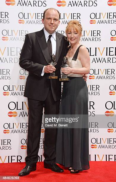 Rory Kinnear winner of Best Actor for Othello and Lesley Manville winner of Best Actress for Ghosts pose in the press room at the Laurence Olivier...