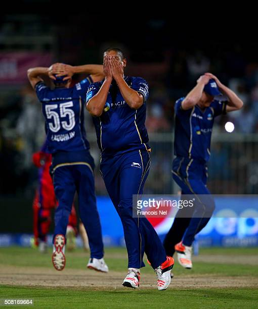 Rory Kleinveldt of Capricorn Commanders reacts after a missed opportunity to run out Virender Sehwag of Gemini Arabians during the Oxigen Masters...