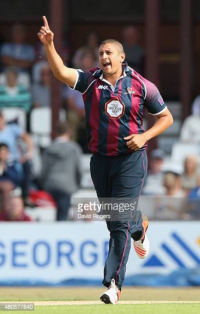 Rory Kleinveldt of Northants celebrates after taking the wicket of Aadil Aliduring the NatWest T20 Blast match between Northamptonshire Steelbacks...