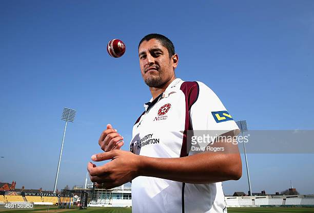 Rory Kleinveldt the Northamptonshire all rounder poses during the photocall held at the County Ground on April 10 2015 in Northampton England