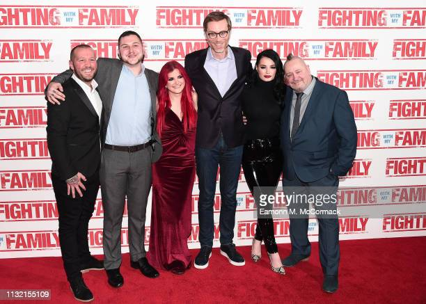 Rory Knight Zak Knight Saraya Knight Stephen Merchant Paige Knight and Ricky Knight attend the UK Premiere of Fighting With My Family at BFI...