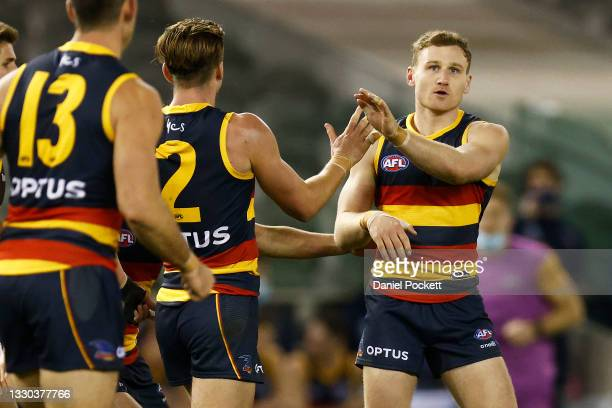Rory Laird of the Crows celebrates a goal during the round 20 AFL match between Adelaide Crows and Hawthorn Hawks at Marvel Stadium on July 24, 2021...