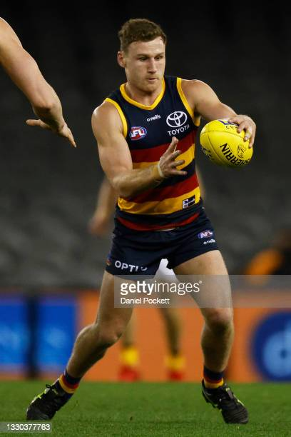 Rory Laird of the Crows kicks the ball during the round 20 AFL match between Adelaide Crows and Hawthorn Hawks at Marvel Stadium on July 24, 2021 in...