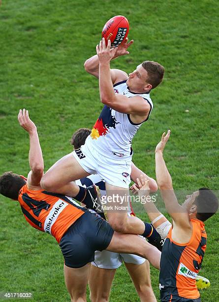 Rory Laird of the Crows takes a mark during the round 16 AFL match between the Greater Western Giants and the Adelaide Crows at Spotless Stadium on...
