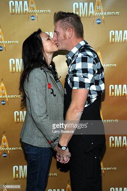 Rory Lee Feek and Joey Martin Feek of Joey + Rory attend the 44th Annual CMA Awards at the Bridgestone Arena on November 10, 2010 in Nashville,...