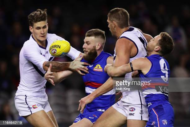 Rory Lobb and Aaron Sandilands of the Dockers compete for the ball against Jackson Trengove and Hayden Crozier of the Bulldogs during the round 19...