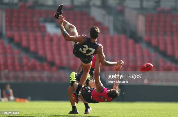 Rory Lobb and Jake Stein of the Giants collide during a Greater Western Sydney Giants AFL training session at Spotless Stadium on May 9 2018 in...