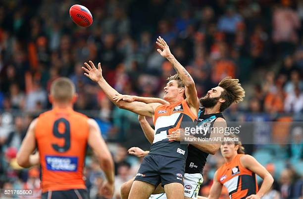 Rory Lobb of the Giants and Justin Westhoff of the Power contest a mark during the round four AFL match between the Greater Western Sydney Giants and...