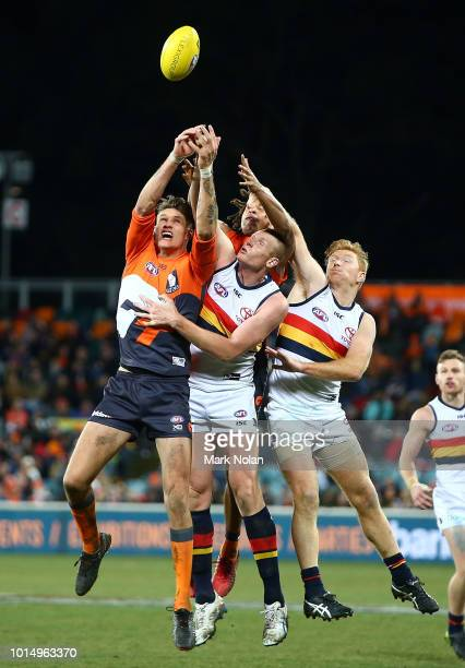 Rory Lobb of the Giants and Sam Jacobs of the Crows contest possession during the round 21 AFL match between the Greater Western Giants and the...