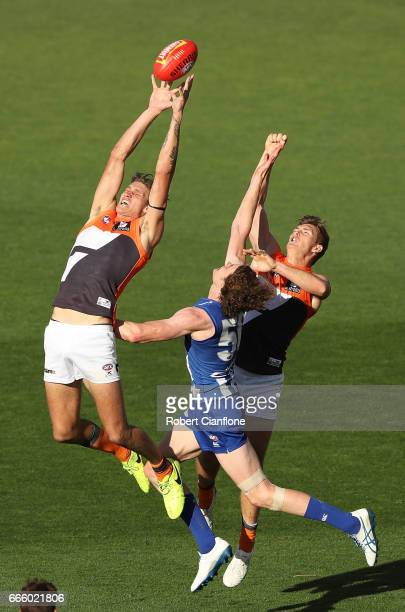 Rory Lobb of the Giants attempts to mark during the round three AFL match between the North Melbourne Kangaroos and the Greater Western Sydney Giants...