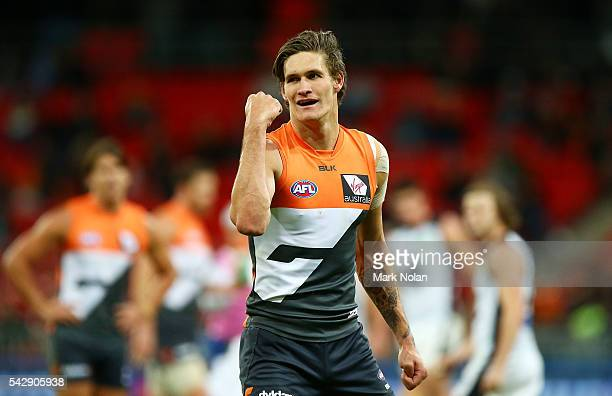 Rory Lobb of the Giants celebrates kicking a goal during the round 14 AFL match between the Greater Western Sydney Giants and the Carlton Blues at...