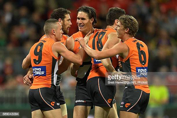 Rory Lobb of the Giants celebrates kicking a goal during the round 21 AFL match between the Greater Western Sydney Giants and the West Coast Eagles...