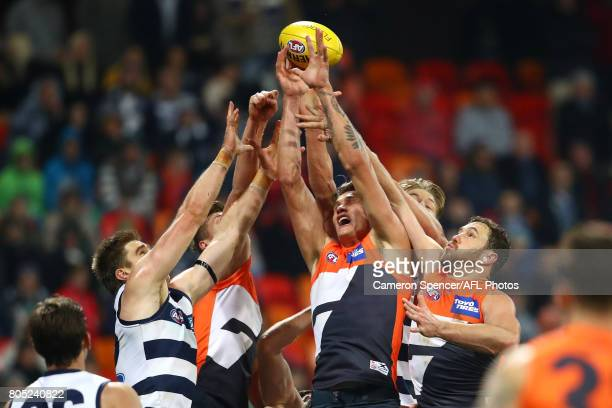 Rory Lobb of the Giants contests the ball during the round 15 AFL match between the Greater Western Sydney Giants and the Geelong Cats at Spotless...