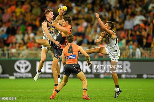 Rory Lobb of the Giants takes a mark during the round six AFL match between the Greater Western Sydney Giants and the Hawthorn Hawks at Spotless...