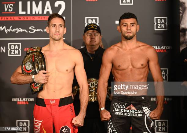 Rory MacDonald and Douglas Lima face off for their fight for the Bellator 232 weigh-in on October 25 at the Mohegan Sun Arena in Mashantucket,...