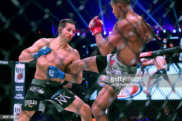 Rory MacDonald and Douglas Lima in their Welterweight World Title fight at Bellator 192 at The Forum on January 20 2018 in Inglewood California...