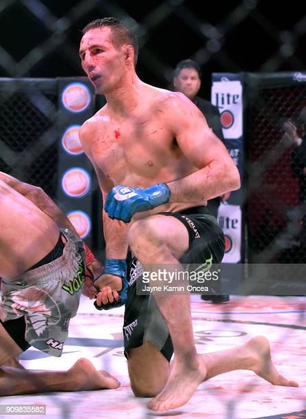 Rory MacDonald in the cage during his Welterweight World Title fight at Bellator 192 against Douglas Lima at The Forum on January 20 2018 in...