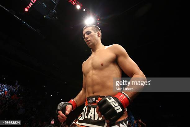 Rory MacDonald of Canada enters the Octagon before facing Tarec Saffiedine of Belgium in their welterweight bout at the Scotiabank Centre on October...