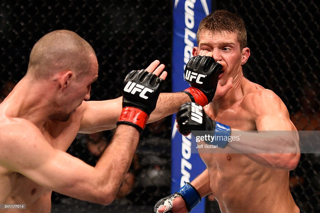 Rory MacDonald of Canada pokes the eye of Stephen Thompson of the United States in their welterweight bout during the UFC Fight Night event inside the TD Place Arena on June 18, 2016 in Ottawa, Ontario, Canada.
