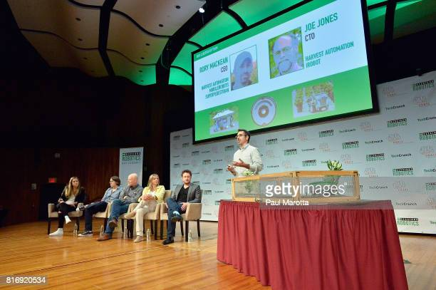 Rory MacKean competes at a PitchOff Session that includes judges Jeremy Conrad Helen Greiner Daniel Theobold and Melonee Wise at the TechCrunch...