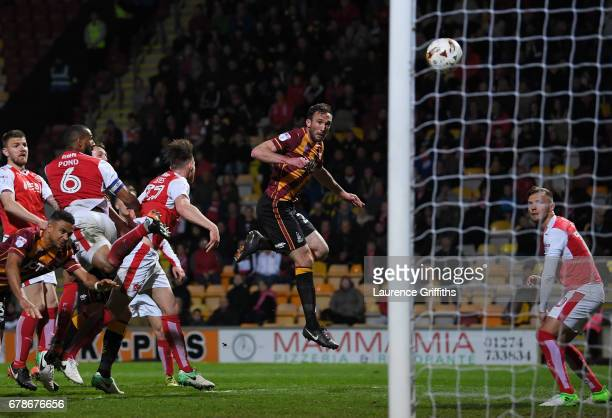 Rory McArdle of Bradford City scores their first goal during the Sky Bet League One playoff semi final first leg match between Bradford City and...