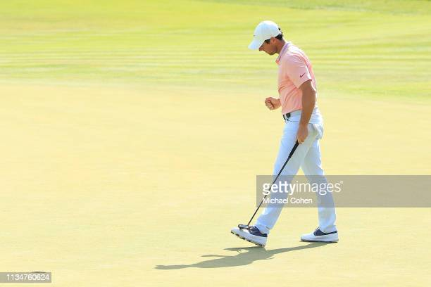 Rory McIlory of Northern Ireland celebrates his putt for birdie on the 18th green during the third round of the Arnold Palmer Invitational Presented...