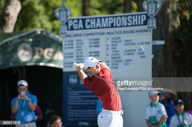 Rory McIlory of Northern Ireland hits his tee shot on the first hole during the Long Drive Competition for the 98th PGA Championship held at the...