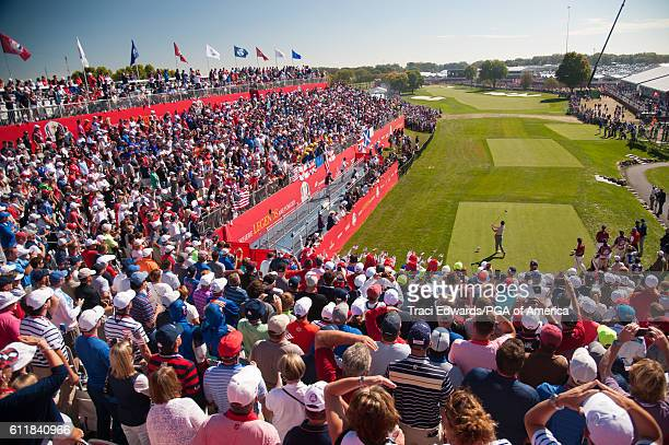 Rory McIlory of Northern Ireland hits his tee shot on the first hole during the fourball matches for the 41st Ryder Cup at Hazeltine National Golf...