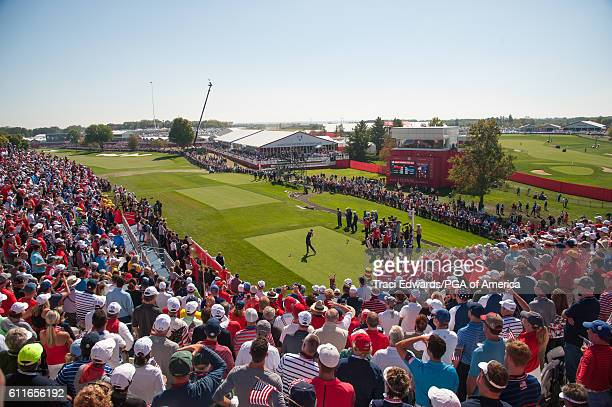 Rory McIlory of Northern Ireland hits his tee shot on the first tee during the fourball matches for the 41st Ryder Cup at Hazeltine National Golf...