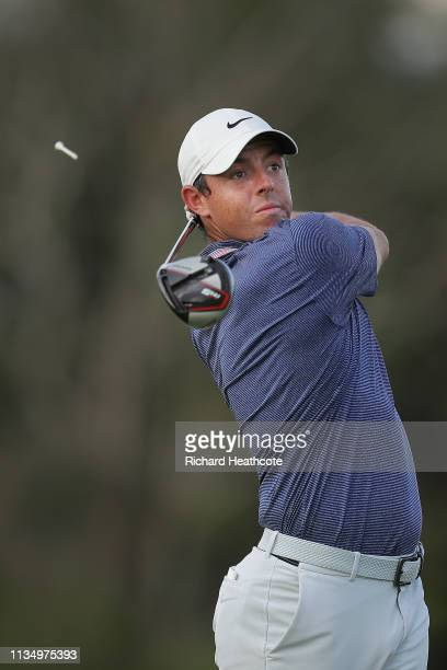 Rory McIlory of Northern Ireland plays his shot from the 16th tee during the final round of the Arnold Palmer Invitational Presented by Mastercard at...