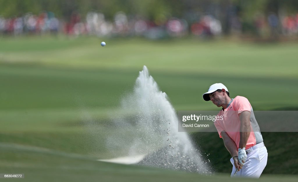 Rory McIlory of Northern Ireland plays his third shot on the par 5, ninth hole during the final round of the THE PLAYERS Championship on the Stadium Course at TPC Sawgrass on May 14, 2017 in Ponte Vedra Beach, Florida.
