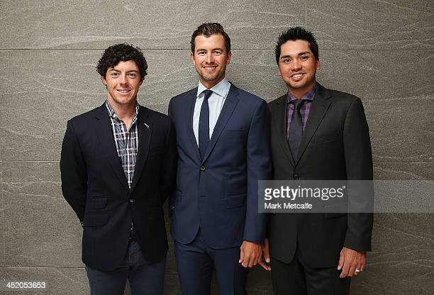 Rory McIlroy, Adam Scott and Jason Day arrive at the official launch of the 2013 Australian Open at The Star on November 26, 2013 in Sydney,...