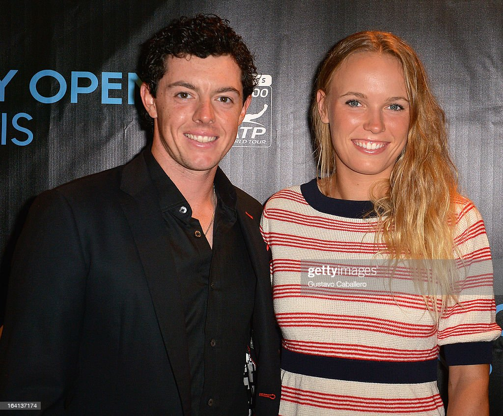 Rory McIlroy and Caroline Wozniacki arrives at Sony Open Player Party 2013 at JW Marriott Marquis on March 19, 2013 in Miami, Florida.