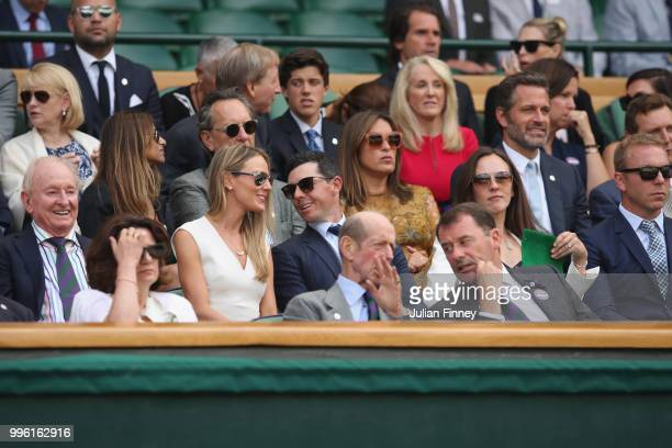 Rory McIlroy and Erica Stoll attend day nine of the Wimbledon Lawn Tennis Championships at All England Lawn Tennis and Croquet Club on July 11 2018...