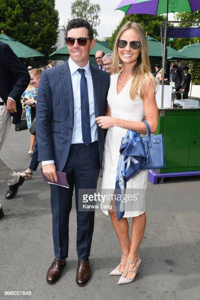 Rory McIlroy and Erica Stoll attend day nine of the Wimbledon Tennis Championships at the All England Lawn Tennis and Croquet Club on July 11 2018 in...