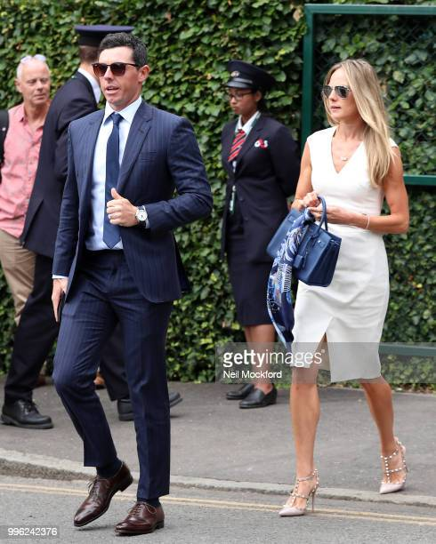 Rory McIlroy and Erica Stoll seen arriving on day nine of the Wimbledon Lawn Tennis Championships at All England Lawn Tennis and Croquet Club on July...