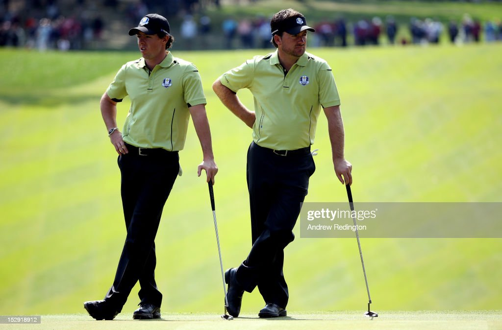 Rory McIlroy and Graeme McDowell during the Afternoon Four-Ball Matches for The 39th Ryder Cup at Medinah Country Club on September 28, 2012 in Medinah, Illinois.