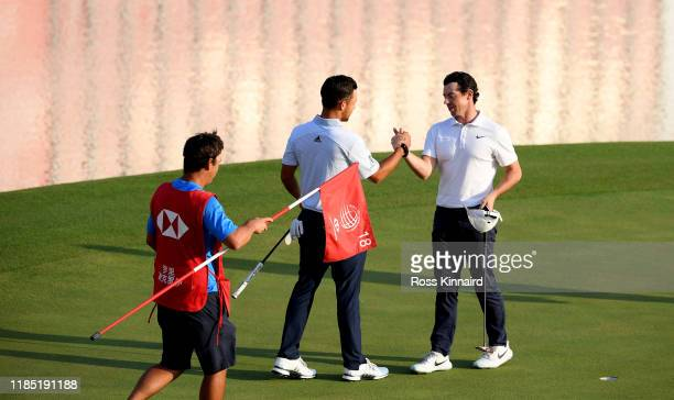 Rory McIlroy celebrates after beating Xander Schauffele at the first playoff hole during the final round of the WGC HSBC Champions at Sheshan...