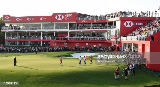 Rory McIlroy celebrates after winning at the first playoff hole during the final round of the WGC HSBC Champions at Sheshan International Golf Club...