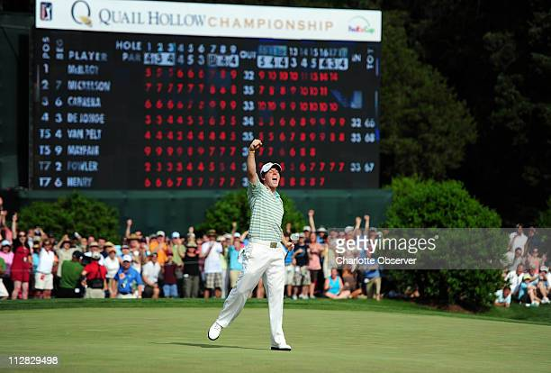 Rory McIlroy celebrates his birdie, and championship, on the 18th green in the final round of the 2010 Quail Hollow Championship at Quail Hollow Club...