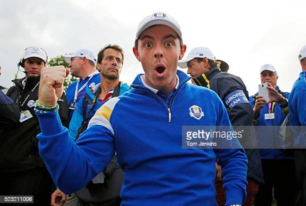 Rory McIlroy celebrates on the 15th green after Europe won the Ryder Cup during the singles on the 3rd day of the 2014 Ryder Cup at the PGA Centenary...