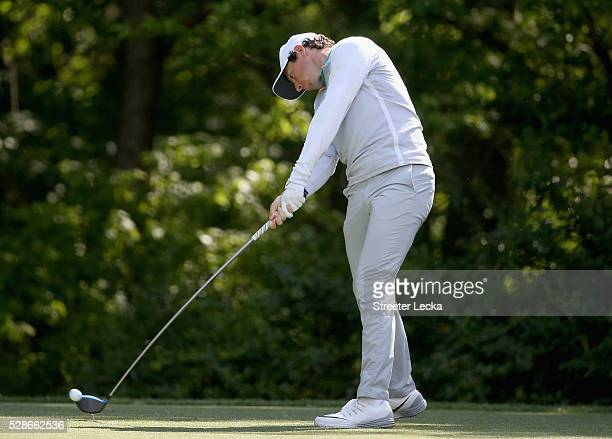 Rory McIlroy hits a tee shot on the 12th hole during the second round of the 2016 Wells Fargo Championship at Quail Hollow Club on May 6, 2016 in...