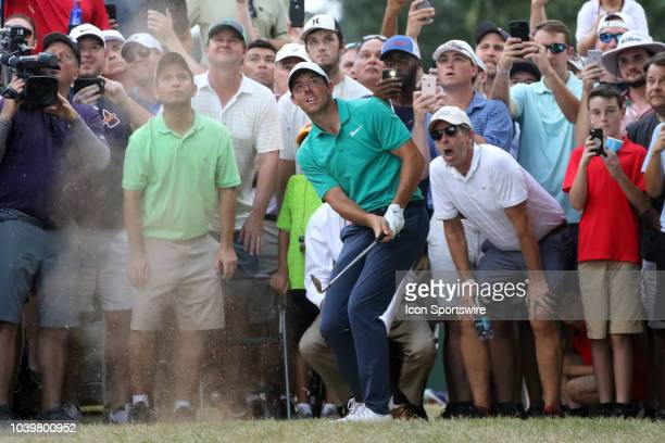 Rory McIlroy hits out of the rough on the 17th hole during the final round of the Tour Championship on September 23 at East Lake Golf Club in Atlanta...