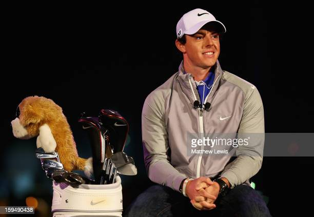 Rory McIlroy is unveiled as a new Brand Ambassador for Nike at Fairmont Bab Al Bahr Hotel on January 14 2013 in Abu Dhabi United Arab Emirates