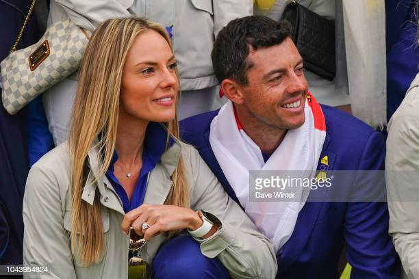 Rory McIlroy of Europe and his wife Erica Stoll during Day Three of the 2018 Ryder Cup at Le Golf National on September 30 2018 in Paris France